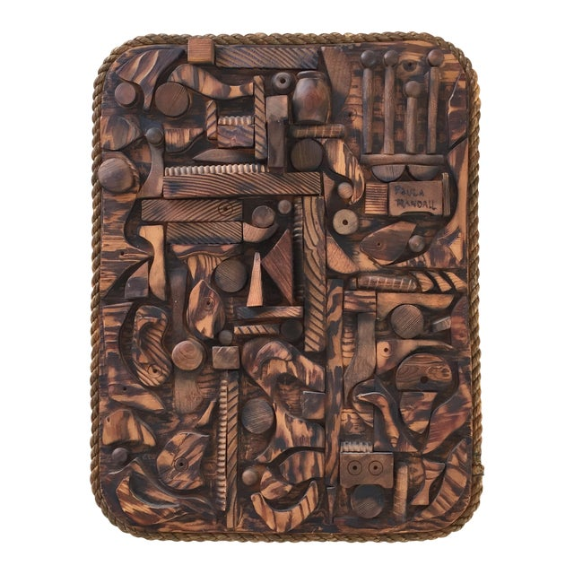 Wood Mosaic Collage Sculpture Paula Randall 1974 - Image 1 of 7