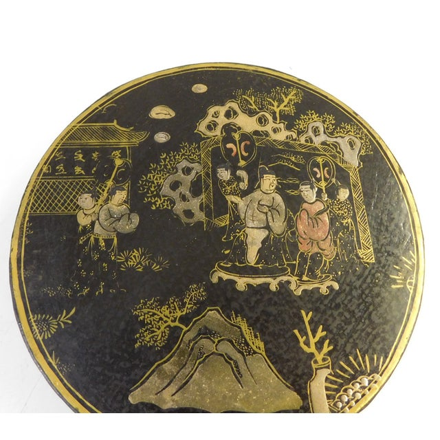 Asian Chinese Black Lacquer Scenery Painting Round Box For Sale - Image 3 of 6