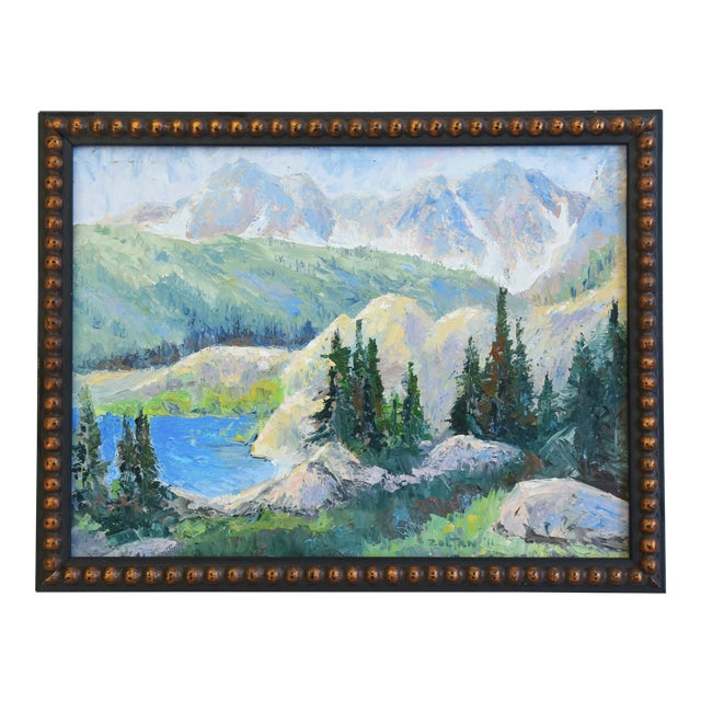 Zoltan, Plein Air Mountain and Lake Landscape Oil Painting For Sale