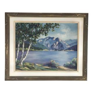 1940's Original Oil on Canvas Mountain Landscape Signed For Sale