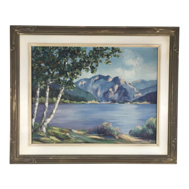 1940's Original Oil on Canvas Mountain Landscape Signed For Sale