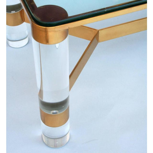 1980s Karl Springer Lucite and Brass Occasional Table For Sale - Image 5 of 7