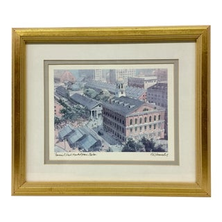 Vintage Print of Faneuil Hall Market Place Boston