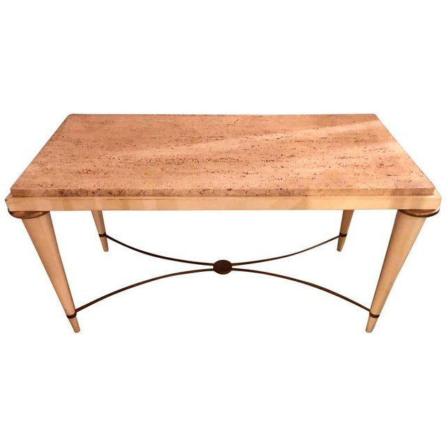 Mid-Century Modern Coffee Table Inset Travertine Marble-Top and Brass Stretcher For Sale - Image 10 of 11