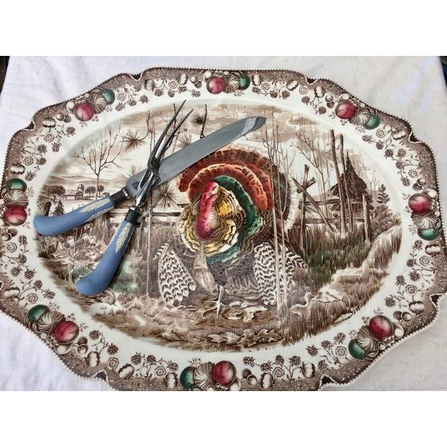 English Transferware Turkey Platter For Sale - Image 5 of 11
