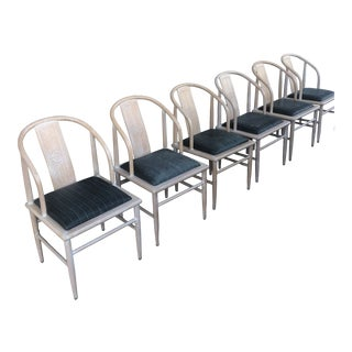 1980s Vintage Asian Style Dining Chairs - Set of 6 For Sale