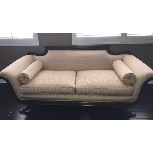 Tan Duncan Phyfe Mahogany Settee For Sale - Image 8 of 8