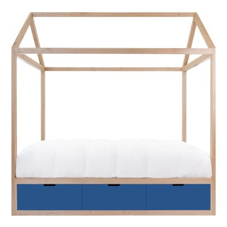 Nico & Yeye Domo Zen Twin Canopy Bed Made of Solid Maple Pacific Blue Drawers For Sale
