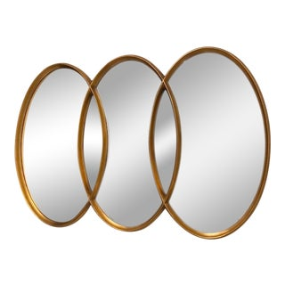 Gold Leaf Triple Oval Mirror For Sale