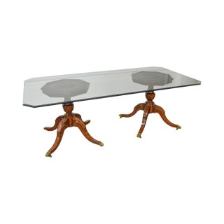 Maitland Smith Mahogany Georgian Style Double Pedestal Glass Top Dining Table