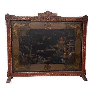 Vintage Chinese Carved & Painted Fire Screen C.1940s For Sale