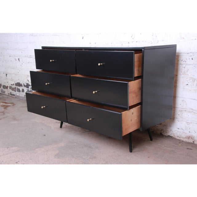Gold Paul McCobb Planner Group Ebonized Six-Drawer Dresser, Newly Restored For Sale - Image 8 of 11