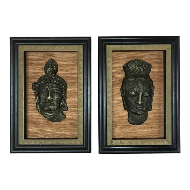 Hollywood Regency Framed 3d Buddhas With Greek Key Border -Pair For Sale