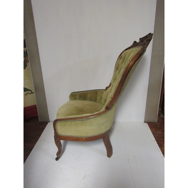 Victorian Chair With Green Velvet Upholstery For Sale - Image 11 of 11