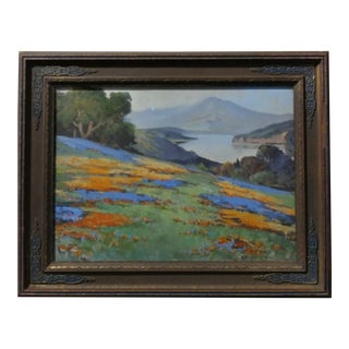 Arthur Best - California Wild Flower Landscape-Beautiful impressionist oil Painting-c.1910 For Sale