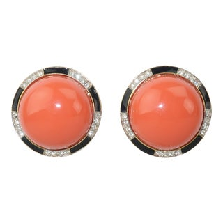 Kenneth Jay Lane Art Deco Faux Coral & Rhinestone Earrings For Sale