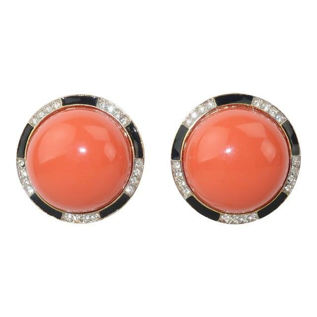 Kenneth Jay Lane Art Deco Faux Coral & Rhinestone Earrings For Sale