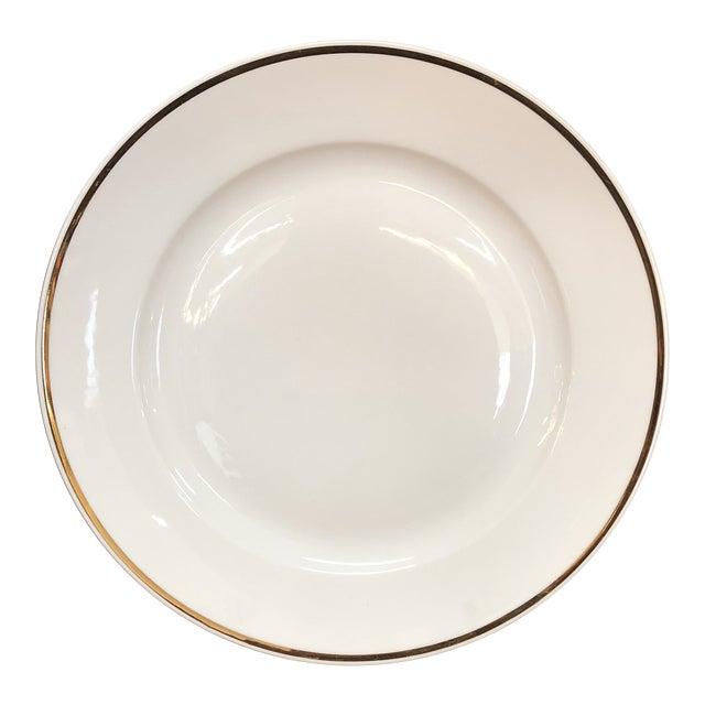 Single Italian Round Platter / Charger White With Gilt Rim Richard Ginori For Sale