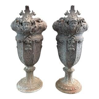 French 19th Century Zinc Renaissance Revival Rococo Garden Vase Planters - A Pair For Sale