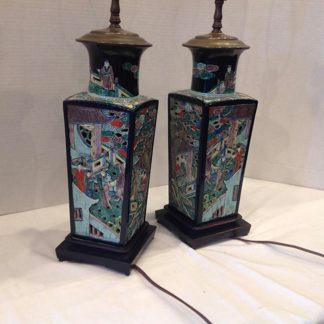 Early 20th Century Famille Noire Chinese Lamps - a Pair For Sale - Image 12 of 13