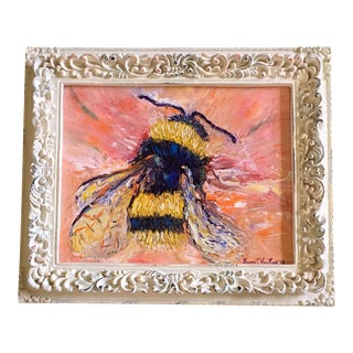 "11""x14"" Bumble Bee Original Framed Oil Painting 2"" Frame For Sale"