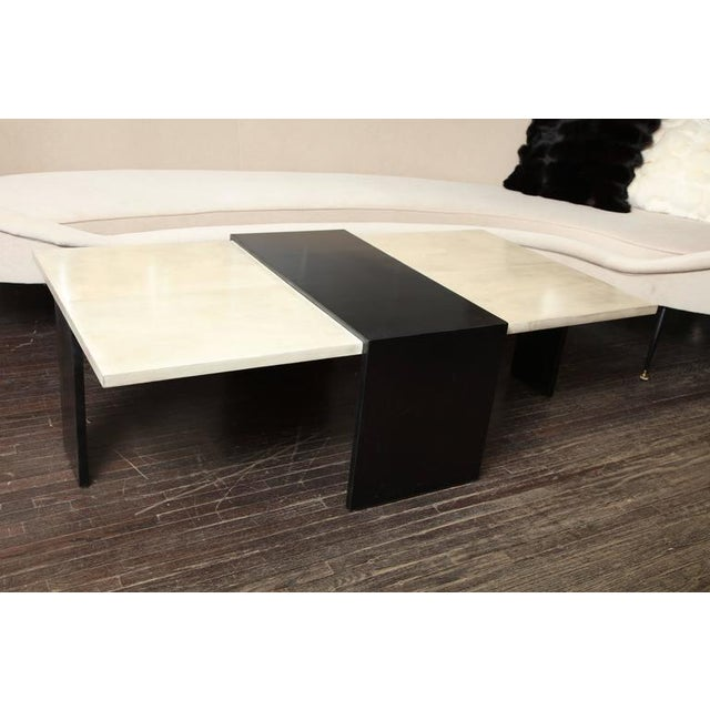 Animal Skin Custom Goatskin Two-Tone Cocktail Table For Sale - Image 7 of 10