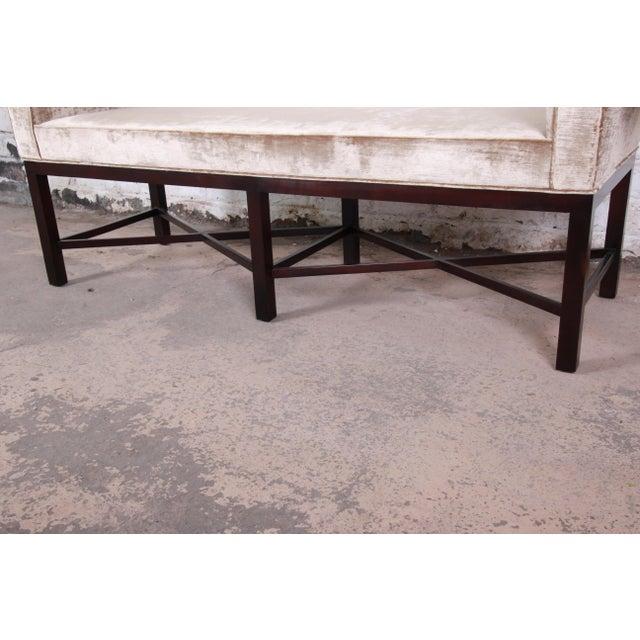 Baker Furniture Mahogany and Velvet Window Bench For Sale - Image 10 of 12