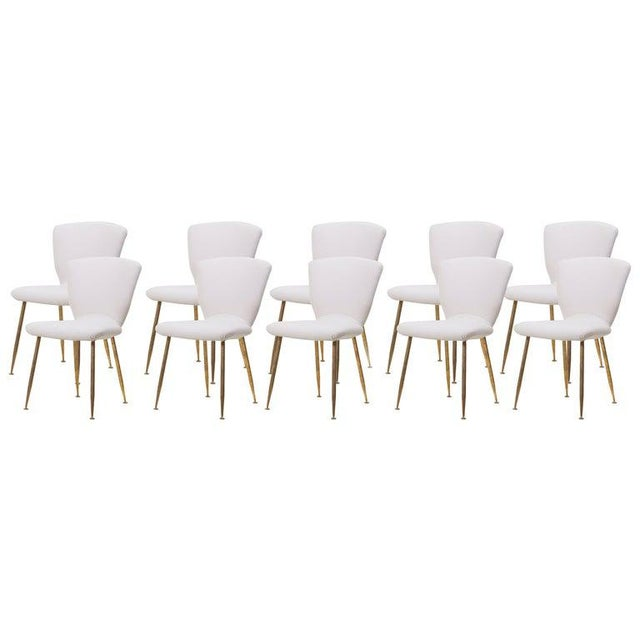 Set of 10 Brass Leg Dining Chairs by Louis Sognot for Arflex, Italy, 1959 For Sale - Image 9 of 9