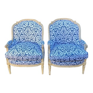 Pair of Antique French Louis XV Style Bergere Chairs W Blue & White Damask For Sale