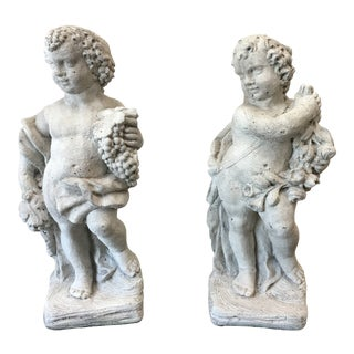 Pair of Italian Cast Concrete Garden Statuary Putti & Flowers Cherubs For Sale