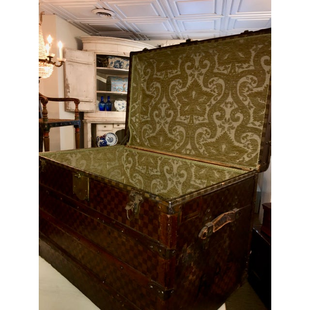 Early 20th Century Early 1900s Moynat Damier Pattern Steamer Trunk For Sale - Image 5 of 7