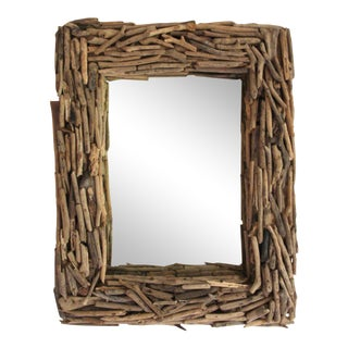 Large Driftwood Wall Mirror, Beach and River House Vibes For Sale