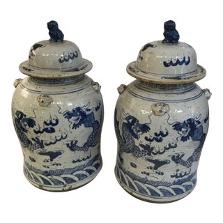 1960s Asian Temple Jars - a Pair For Sale