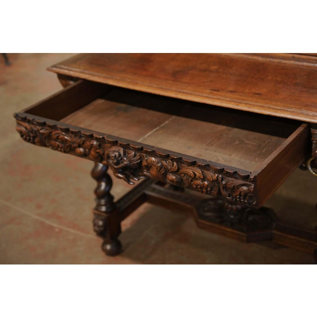 Mid-19th Century French Louis XIII Heavily Carved Oak Secretary Bookcase Desk For Sale - Image 9 of 13