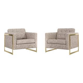 Pair of Milo Baughman Brass Cube Lounge Chairs Freshly Upholstered For Sale