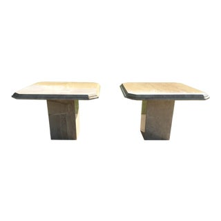 Maitland-Smith Style Travertine Geometric Pedestal Tables - a Pair For Sale