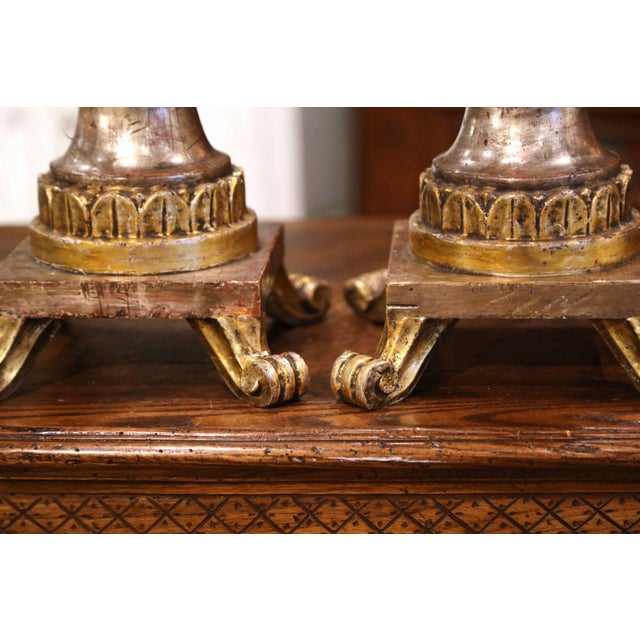 Pair of 19th Century Italian Carved Silver and Gilt Candle Holders For Sale In Dallas - Image 6 of 12