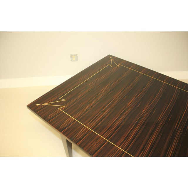 1940s French Art Deco Exotic Macassar Ebony Writing Desk / Dining Table For Sale - Image 11 of 13