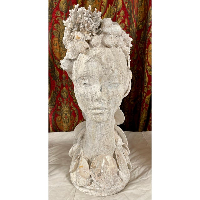 "1990s ""Sea Queen"" Woman Bust Sea Shell Sculpture For Sale - Image 11 of 11"