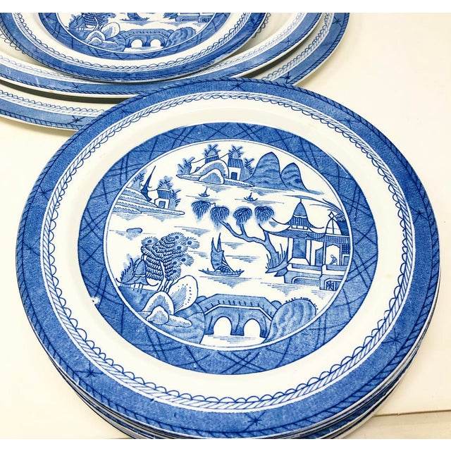 Chinoiserie Antique Blue & White Canton Pattern China Collection - Set of 14 For Sale - Image 3 of 13