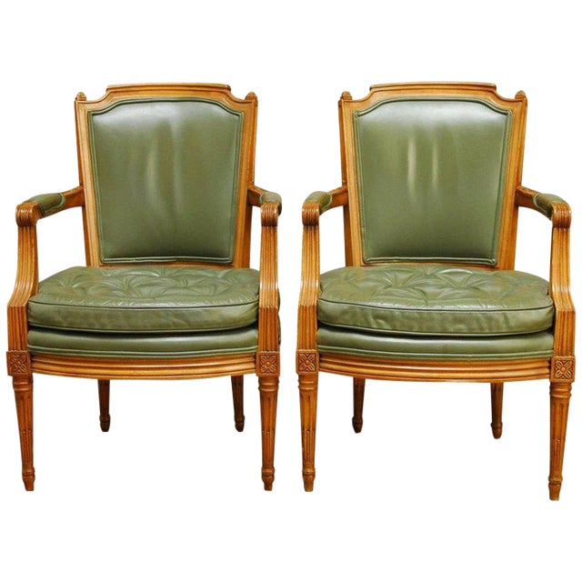 Louis XVI Style Leather Fauteuil Armchairs - A Pair - Image 1 of 10
