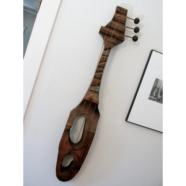 Mid-Century Witco Wilrongo Tiki Modern Wood Guitar Wall Sculpture - Image 5 of 10