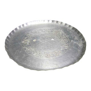 1930s Hand Wrought Aluminum Serving Platter For Sale