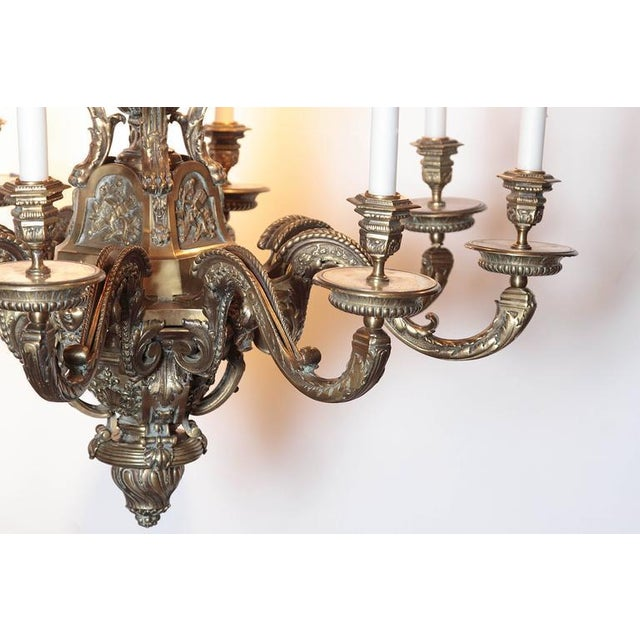 Ornate 19th Century French 8-Light Bronze Chandelier with Cherubs and Faces - Image 3 of 10