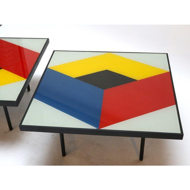 1960s Reverse Painted Glass Coffee Tables - a Pair For Sale - Image 5 of 7