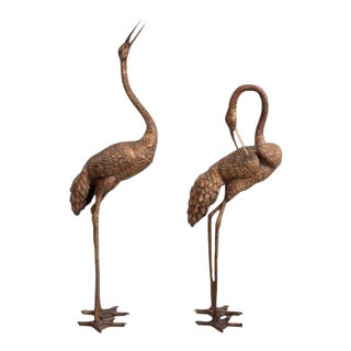 Pair of 4-5 Feet Tall Brass Flamingo or Crane Sculptures. For Sale