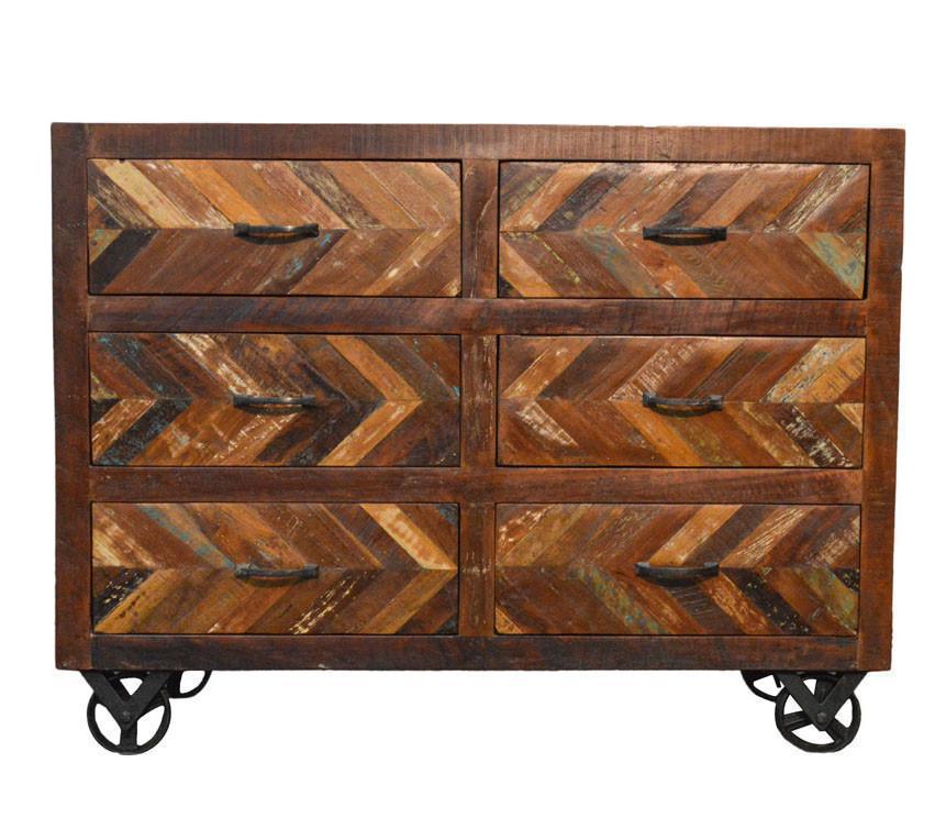 Genial Reclaimed Sideboard Buffet Table On Iron Wheels
