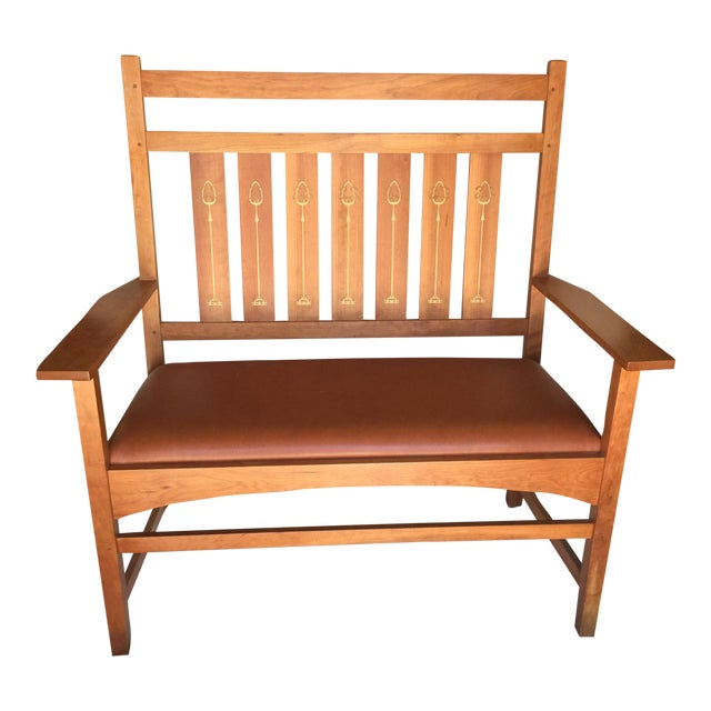 Harvey Ellis Stickley Bench in Cherry For Sale