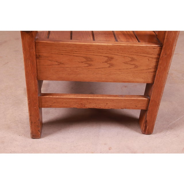 Antique Stickley Style Arts & Crafts Solid Oak Settle or Bench For Sale - Image 11 of 13