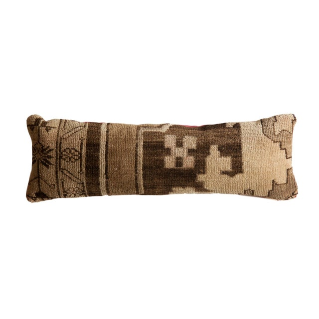 Brown Reclaimed Vintage Turkish Rug Fragment Lumbar Pillow For Sale - Image 8 of 8